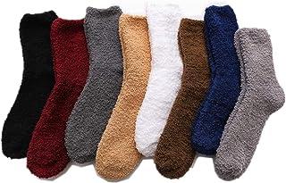 HUANG, 8 pares de calcetines de lana para hombre, calcetines de felpa suaves y esponjosos, calcetines de invierno cálidos y acogedores, zapatillas para dormir para hombres adultos, niños