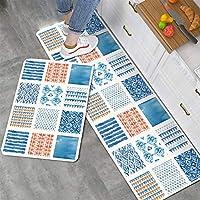 ジグソープリントキッチンラグ防水耐油印刷PVCレザーカーペット低反発ノンスリップカーペット緩和足圧洗濯可能 (色 : ブルー, サイズ : 45X75cm+45X75cm)