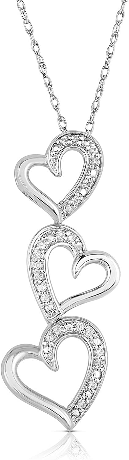NATALIA DRAKE 1 10 Cttw 2021 autumn and winter new Diamond Heart Max 81% OFF Necklace Women Triple for