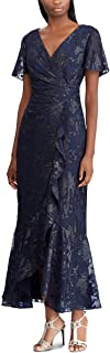 RALPH LAUREN Womens Navy Gown Jacquard Short Sleeve V Neck Maxi Faux Wrap Evening Dress US Size: 10