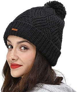 LETHMIK Slouchy Pom Beanie Hat,Knit Skull Winter Cuff Beanie Cap for Women Cute Winter Pom Pom