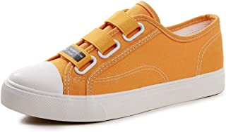 Women's Canvas Shoes - Breathable Elastic Belt Flat Shoes Casual Sports Skateboard Shoes (Color : Yellow, Size : 37)