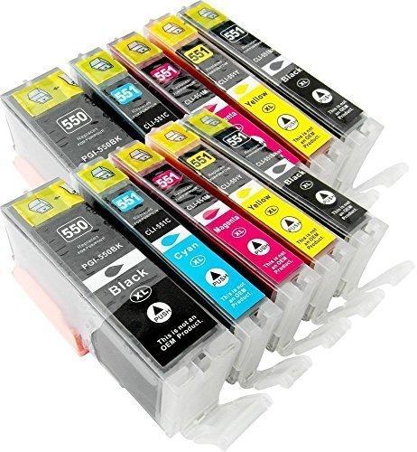10 Tintenpatronen kompatibel zu CLI-551 PGI-551 mit Chip je 2x PGI-550PGBK XL, CLI-551BK XL, CLI-551C XL, CLI-551M XL, CLI-551Y XL für Canon Pixma iP7200, iP7250, iP8750, iX6850, MG5450, MG5550, MG5650, MG5655, MG6350, MG6450, MG6650, MG7100, MG7150, MG7550, MX725, MX925, iP7200, iP7250, iP8750, iX6850, MG5450, MG5550, MG5650, MG5655, MG6350, MG6450, MG6650, MG7100, MG7150, MG7550, MX725, MX925