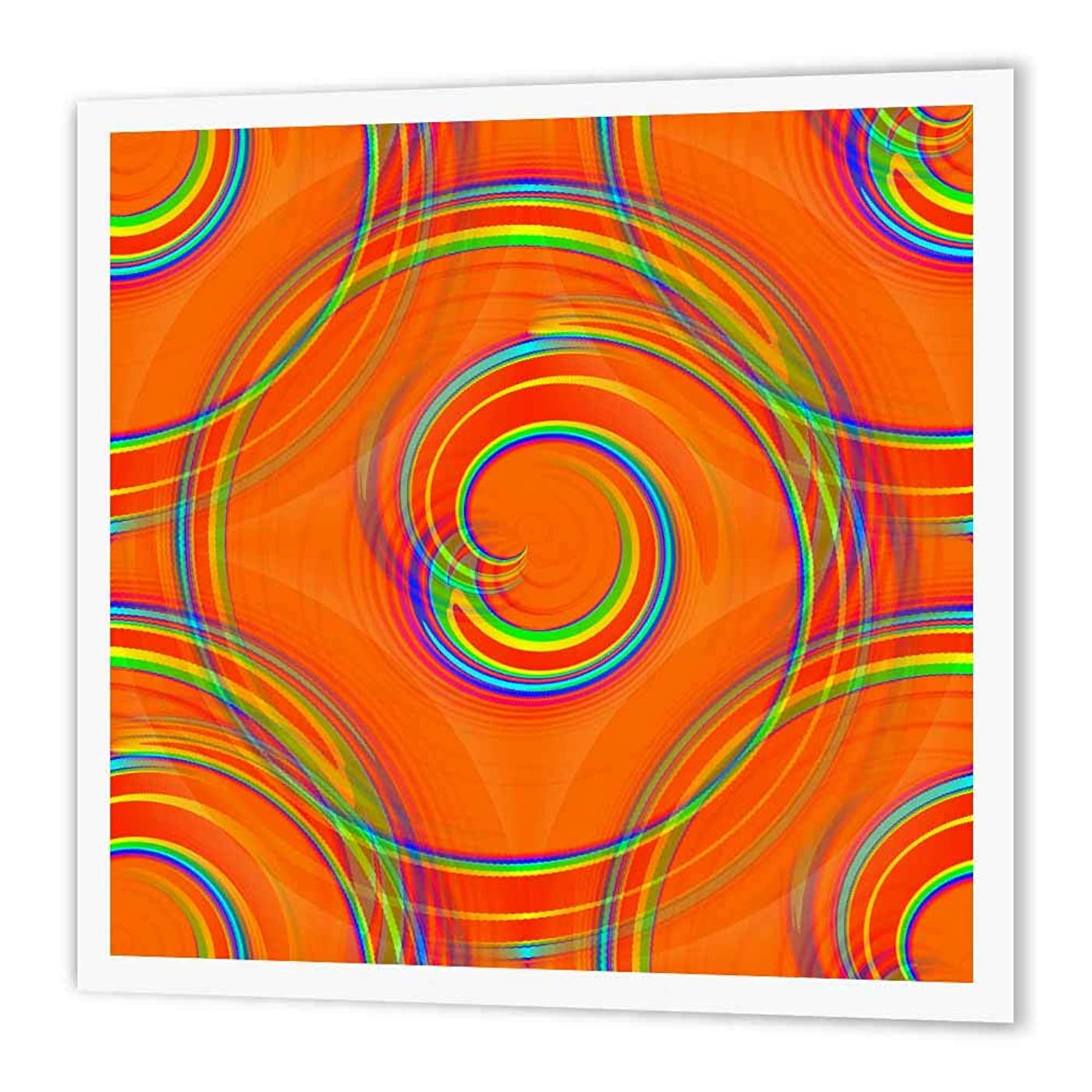 3dRose ht_180976_3 Orange Twirl Digital Abstract by Angelandspot-Iron on Heat Transfer Paper for White Material, 10 by 10-Inch