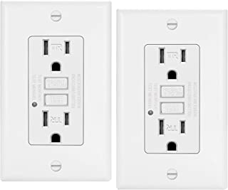 2 Pack - ELECTECK 15A/125V Tamper Resistant GFCI Outlet, Duplex Receptacle with LED Indicator, Decorator Wall Plate and Screws Included, Residential and Commercial Grade, ETL Certified, White