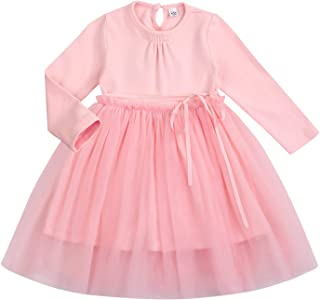 YOUNGER STAR Toddler Kids Baby Girl Dress Long Sleeve Party Tutu Dress Solid Color Cute Ruffle Princess Bowknot Fairy Skirt