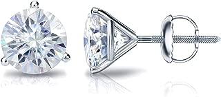 Platinum Round Moissanite Stud Earrings (1 to 7ct TGW, H-I) 3-Prong Martini, Screw-Back by Diamond Wish