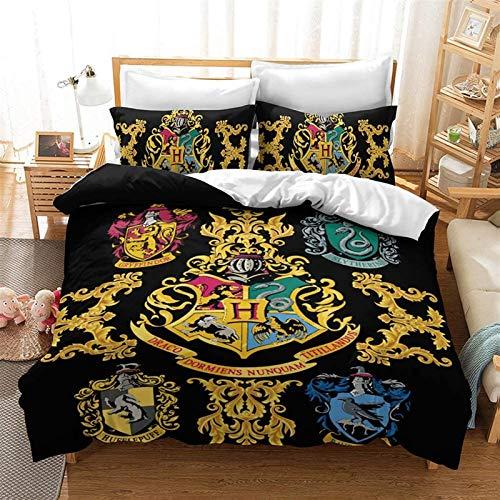 Conjunto de ropa de cama 3D cubierta de edredón, Set de ropa de cama de anime Harry Potter Microfiber Conjunto de edredón 3D Funda de edredón Funda de almohada Soft Duvet Funda Edredón Adecuado para n