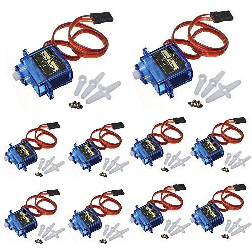 J-Deal 10x Pcs SG90 Micro Servo Motor 9G RC Robot Helicopter Airplane Boat Controls