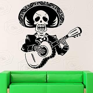 JXGG Diseño de Arte Creativo Cráneo Hombre Tocando la Guitarra Etiqueta de la Pared México Rangers Mexicanos con Sombrero de Paja Pintura de Pared de Vinilo Decoración Especial para el hogar 56x57 cm