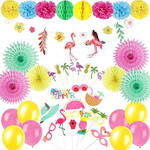 Easy Joy Hawaiian Luau Dekoration Kit Flamingo Girlande Foto Requisiten Papier Deko Set