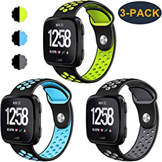 CAVN 3-Pack Compatible Fitbit Versa Bands/Versa Lite Edition Bands for Men Women, Sweat Resistant Replacement Accessory Strap Bracelet Compatible Fitbit Versa/Versa Lite Edition Smartwatch