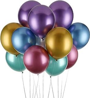 Herefun Globos Metalizados, 50 Piezas Globo Látex Metálico Globos metálicos de Fiesta Globos metálicos Brillantes Globos De Helio para cumpleaños, Bodas, Baby Shower y Decoraciones