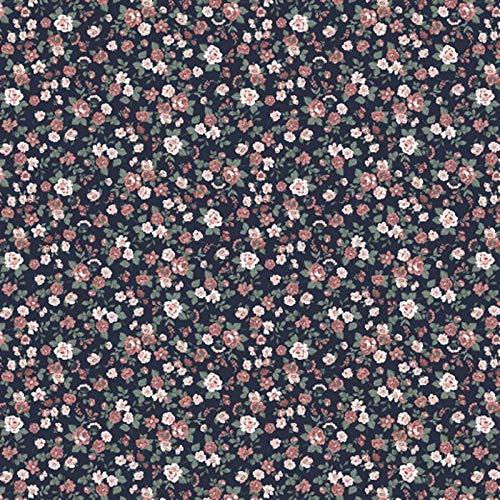 Hans-Textil-Shop Stoff Meterware Romantik Blumen Baumwolle - 1 Meter, Blumen, Blumenwiese, Kleidung, Dirndl, Deko, Bettwäsche (Navy)