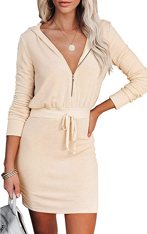 PRETTYGARDEN Women'sLongSleeve ZipUpHoodie Dress Elastic Waistline CasualDressesforWomen VNeckSlim Mini Dress