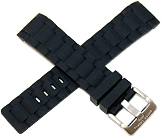 24MM Black Silicone Rubber Watch Strap & Silver Stainless Buckle fits 47mm Ambassador Watch