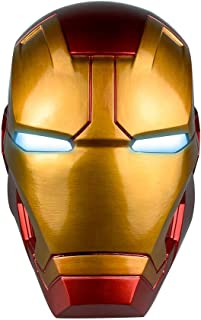 XXF Iron Man Electronic Helmet - PVC Iron Man Full Head Mask with Eyes LED Glowing Halloween Cosplay for Adult.