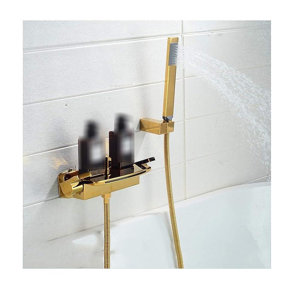 好むコテージスクラップ冷水と温水が付いている滝の浴槽の蛇口壁に取り付けられた浴槽のシャワーの蛇口手持ち型のシャワーが付いている真鍮の浴槽の蛇口セット,Polished gold