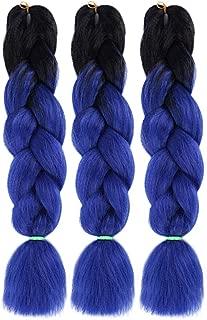 Ombre Jumbo Braid Hair Extensions - 3pcs/lot 2 Tone 24 Inches Multi Color Natural Synthetic Heat Resitant High Temperature Fiber DIY Braids Twist Crochet Box Braiding Hair Extension, Black & Blue