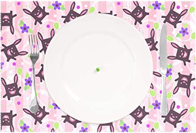 78bea8d9f941 Amazon.com: Pardick Cute Floral Bird Elephant Placemats Set of 1 ...