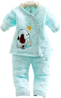 KIDZVILLA Baby Cotton Cartoon Print 2 Piece Winter Suit (Sea Green, 0-6 Months)