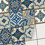 Sticker Carrelage adhésif Mural - Autocollant Stickers - Carreaux de Ciment Cuisine et Salle de Bain I Revêtement Mural adhésif (15x20 cm I 30 - Pièces)