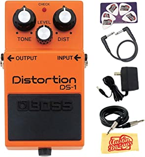 Boss DS-1 Distortion Bundle with Power Supply, Instrument Cable, Patch Cable, Picks, and..