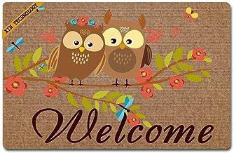 """Doormat Welcome Owls Doormats Monogram Non-Slip Doormat Non-Woven Fabric Floor Mat Indoor Entrance Rug Decor Mat 23.6"""" x 1..."""