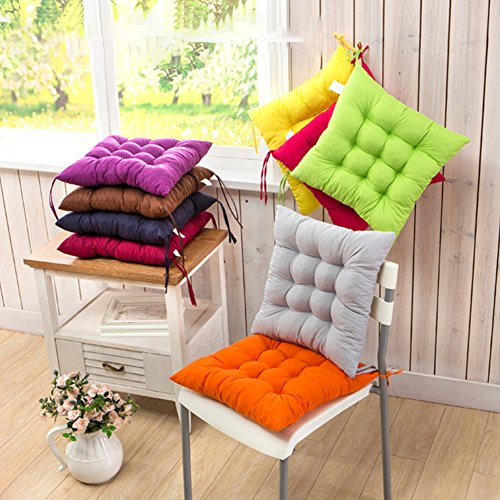 Cojín para silla de interior y exterior, mimbre macizo, cojines para silla de cocina, jardín, comedor, 35 x 34 cm, cojín para silla 40cm by 40cm gris