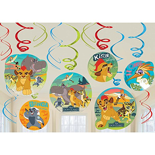 amscan Lion Guard Hanging Party Swirl Decorations 12 Count Lion King Birthday Party Supplies,Multi-Colored,One Size