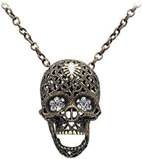 Uniqsum Sparkling Cubic zirconia Flower eyes Skull Necklace cable Chain