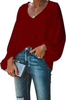 Women's Casual Sweet & Cute Loose Shirt Balloon Sleeve V-Neck Blouse Top