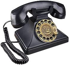 EC VISION Rotary Phones for Landline, Retro Landline Telephone Old Fashion Home Phones with Mechanical Ringer and Speaker Function(Black)