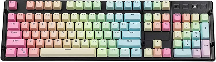 YMDK Double Shot 104 Dyed PBT Shine Through Keyset OEM Profile Keycap Set for Cherry MX Switches Mechanical Keyboard 104 87 61,Rainbow