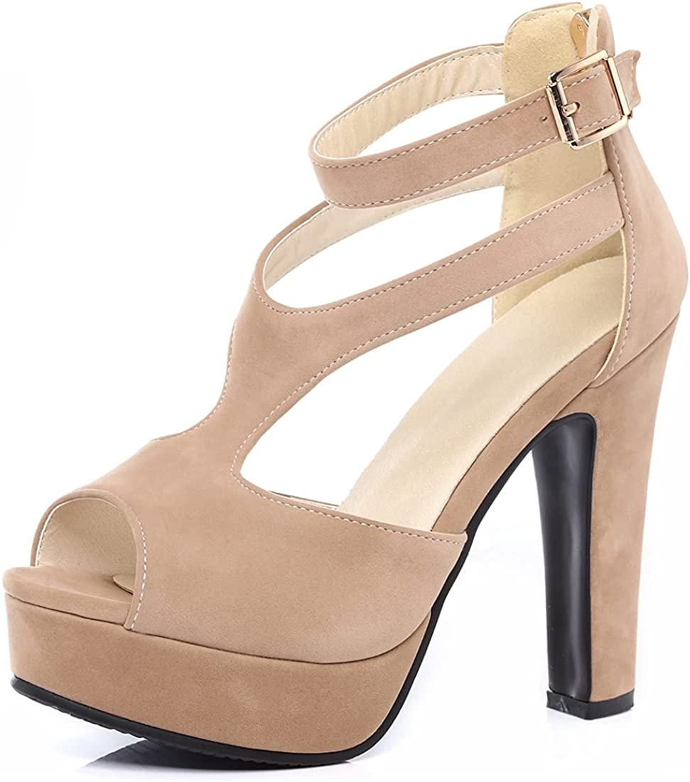MISTU Women's Trendy T-strap Peep High Heel Platform shopping Sandals Toe Cheap mail order sales
