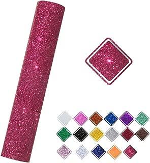 VINYL FROG Glitter 0.8x5ft Cherry Heat Transfer Vinyl Roll(HTV) for T-Shirt Clothing Garment Bags (9.6