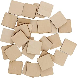 MagiDeal 30 Piece Square MDF Unfinished Wood Pieces Blank Plaques for DIY Craft Pyrography 20x20mm