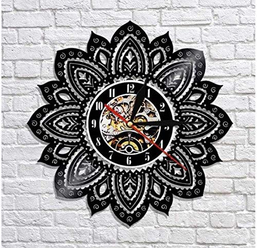 ZZLLL Reloj de Pared de Vinilo 1 Pieza Flor de la Vida Reloj de Pared de Loto Diseño Moderno Artesanía psicodélica Mandala Yoga Estatua de Buda Reloj de Pared con Registro de 30cm