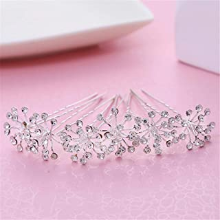 LUKEEXIN Bridal Wedding Hair Bun Hair Accessories Bridal Dress Accessories Wedding Bridal Handmade Headwear 10pcs (Color : Silver)