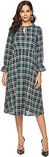 Ekaliy Buffalo Plaid Dress Womens Flannel A Line Midi Dress