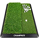 Champkey Dual-Turf Golf Hitting Mat | Come with 9 Golf Tees & 1 Rubber Tee | Heavy Duty Rubber Backing Golf Practice Mat Ideal for Indoor & Outdoor Training