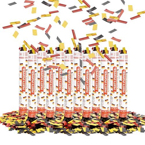 Party Factory 12 Party Popper, 40 cm, Deutschland Konfetti bis 8 m Effekthöhe, Fanartikel für WM oder EM, Länderspiele