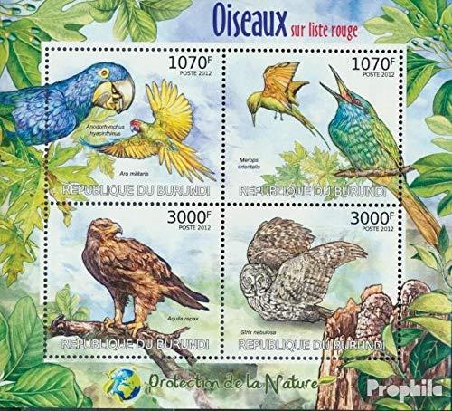 Prophila Collection Burundi 2575-2578 Minifoglio (Completa Edizione) 2012 Rare Uccelli (Francobolli per i Collezionisti) Uccelli