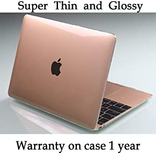 Twinscase New MacBook 12 Inch Case A1534 2019,Transparent See Through Clear,Ultra Thin Anti-Scratch Dustproof Rubberized Feet Case Glossy Cover for MacBook 12 Inch Retina Display