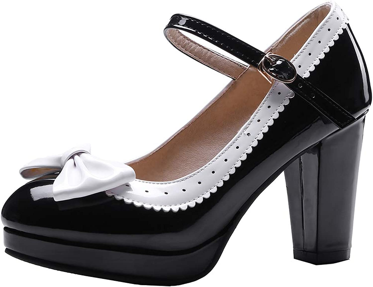 XDLEX Women's Lolita Sweet Bowtie Bow Pumps Ankle Strap Wedges Vintage Perforated Mary Janes Cute Buckle Patent Leather Gothic Court shoes High Block Heel