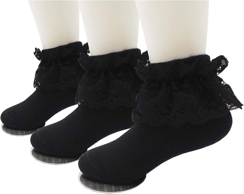 Xiyadun Toddler & Girls Eyelet Frilly Dress Socks Ruffle Lace Cotton Socks