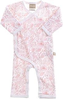 Babyushka Organic Essentials Flower Kimono Jumpsuit, Pink, 0