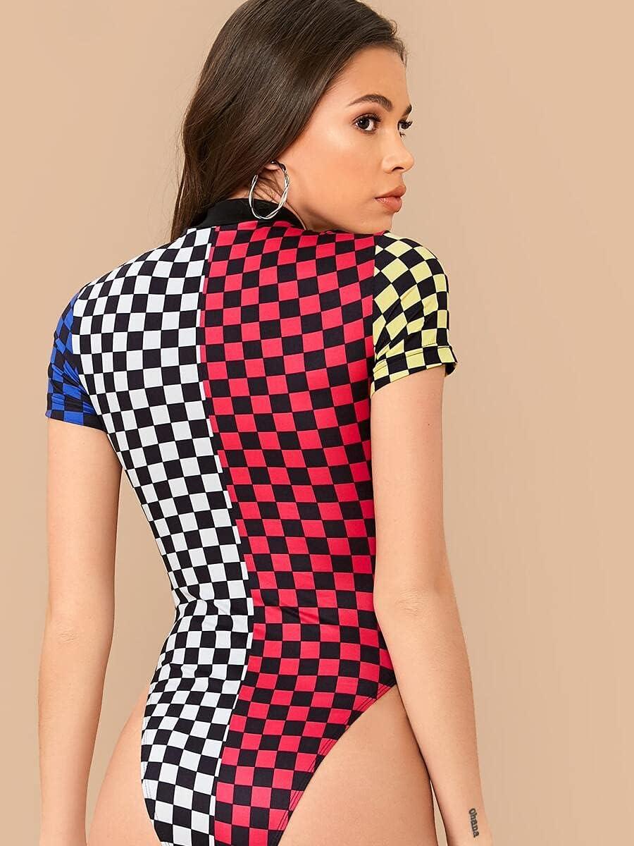JYMBK Lace Jumpsuit Katy Perry's Picks Colorblock Checked Print Cheeky Bodysuit (Color : Multicolor, Size : XL)