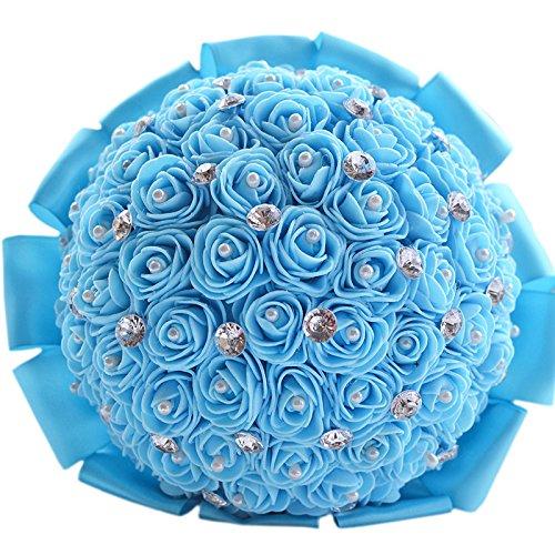 Quibine Bouquets de Mariée PE Rose Ornée Perles Cristal Rhinestone Strass pour Mariage Fleur Artificielle, Bleu Clair