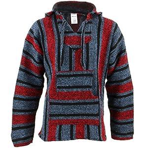 Mexican baja jerga azul y rojo con capucha Hippie parte superior   DeHippies.com